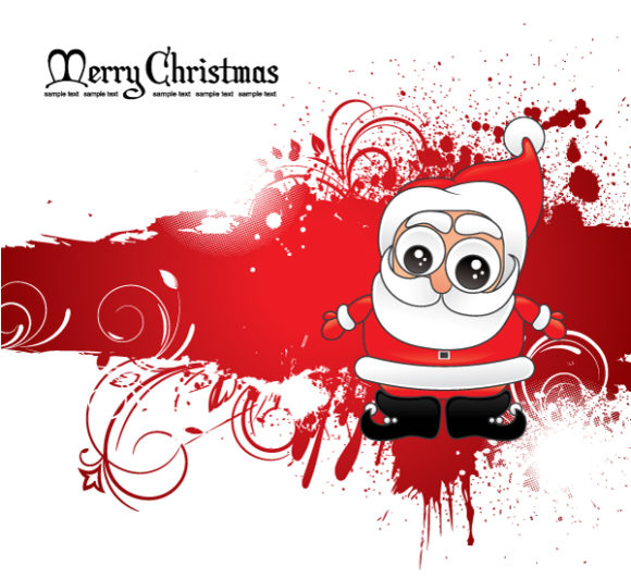 With, Season, Santa Vector Design Santa With Grunge 5