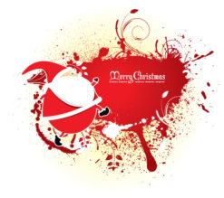 Santa With Grunge Vector Illustrations floral