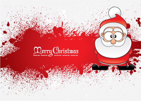 Greeting Eps Vector Santa With Grunge 2010 08 13 1017