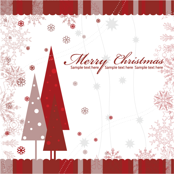 Christmas Greeting Card Vector Illustrations tree