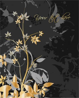 Grunge With Gold Floral Vector Illustrations old
