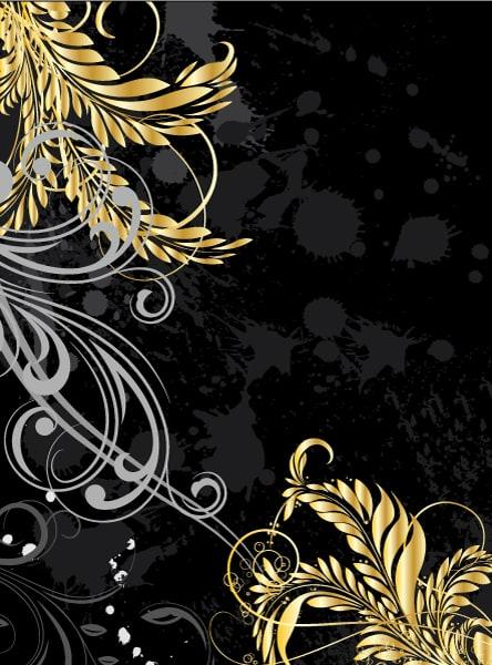 Grunge, Floral Vector Image Grunge With Gold Floral 5