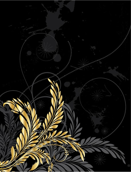 Rust, Gold, Illustration, Floral Vector Image Grunge With Gold Floral 5