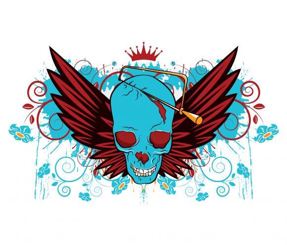 Skull, Tshirt, Vintage-2, Vector Vector Graphic Vector Vintage Skull Tshirt Design 2010 08 25 1011