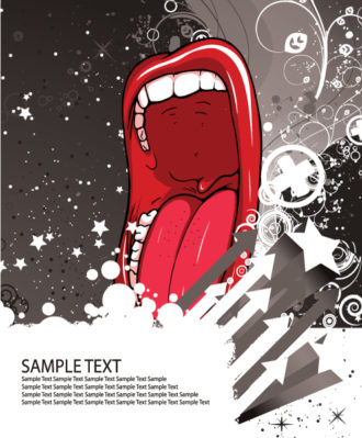 Vector Concert Poster With Mouth Vector Illustrations star