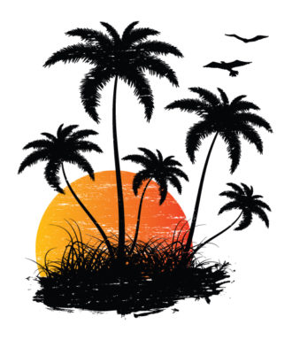Vector Vintage Summer Background With Palm Trees And Birds Vector Illustrations palm