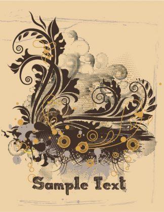 Vintage Grunge Floral Vector Illustration Vector Illustrations old