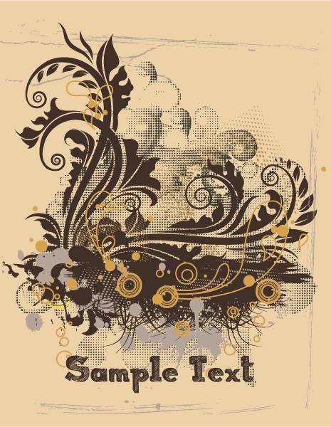 Trendy Circle Vector Design: Vintage Grunge Floral Vector Design Illustration 2010 08 28 1023