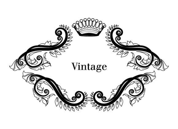 Crown, Floral, Black, Vintage-2, Vector, Frame Vector Artwork Illustration Of Vintage Floral Frame In Black And White Vector 2010 08 28 109