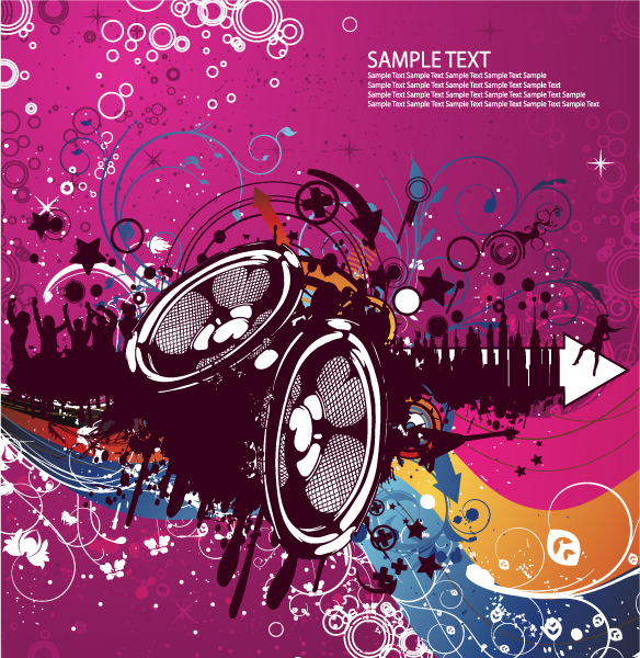 Concert Poster Vector Illustrations wave