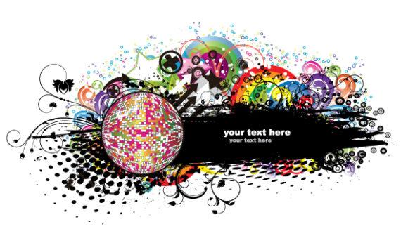 Trendy Music Vector Artwork: Music Frame 5