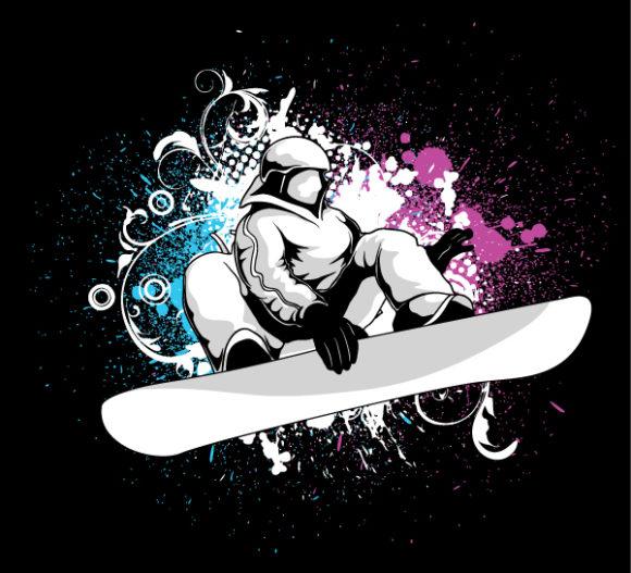Grunge Vector Image Vector Snowboarder 2010 08 8 104