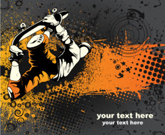 Skater With Grunge Vector Illustrations star