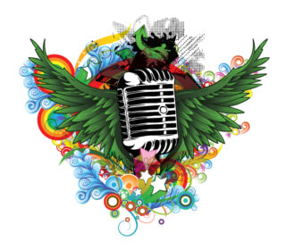 Vector Music Illustration With Microphone Vector Illustrations star