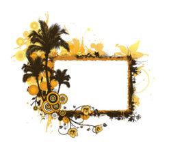 Vector Summer Grunge Floral Frame Vector Illustrations palm
