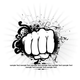 Vector Fist With Rays Background Vector Illustrations old
