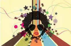 Vector Retro Background With Funky Face Vector Illustrations star