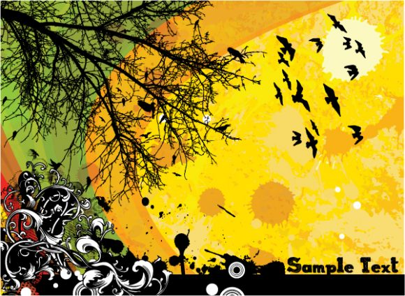 Awesome Floral Vector: Vector Grunge Floral Background With Birds 2011 01 7 12