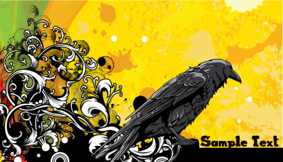 Vector Grunge Floral Background With Raven Vector Illustrations old
