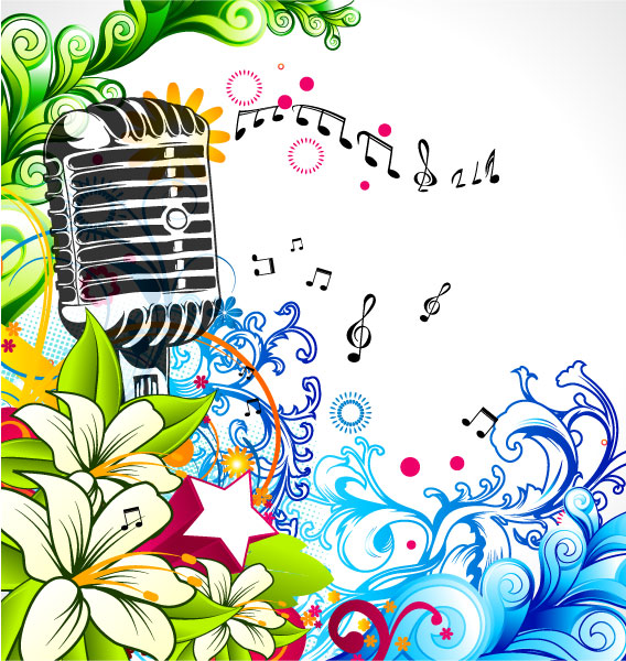 Floral Eps Vector: Eps Vector Concert Poster With Microphone And Colorful Floral 1