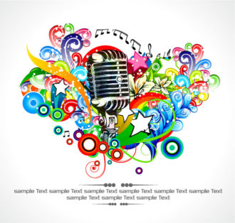 Vector Concert Poster With Microphone And Colorful Floral Vector Illustrations star