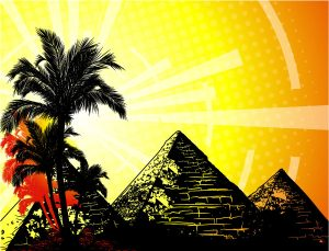 Vector Summer Background With Pyramids Vector Illustrations palm