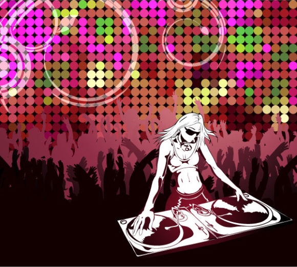 Vector Abstract Music Poster With Dj 2011 02 12 j 47