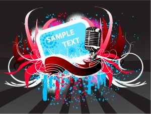 Vector Abstract Music Poster With Microphone Vector Illustrations vector