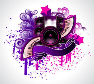 Vector Abstract Music Poster With Speakers Vector Illustrations star