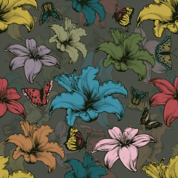 Vector Vintage Seamless Floral Wallpaper With Hibiscus And Butterflies Vector Illustrations old