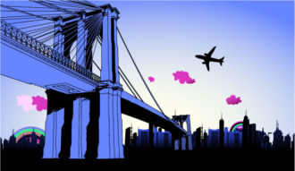 Vector Urban Illustration With Bridge Vector Illustrations building