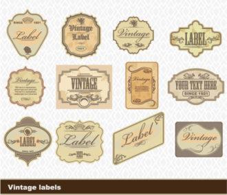 Vintage Labels Set Vector Illustration Scenes tree