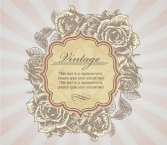 Vintage Label With Roses Vector Illustration Vector Illustrations old