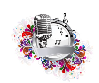 Vector Colorful Music Illustration With Microphone Vector Illustrations floral