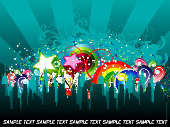 Vector Abstract Colorful Urban Background Vector Illustrations building