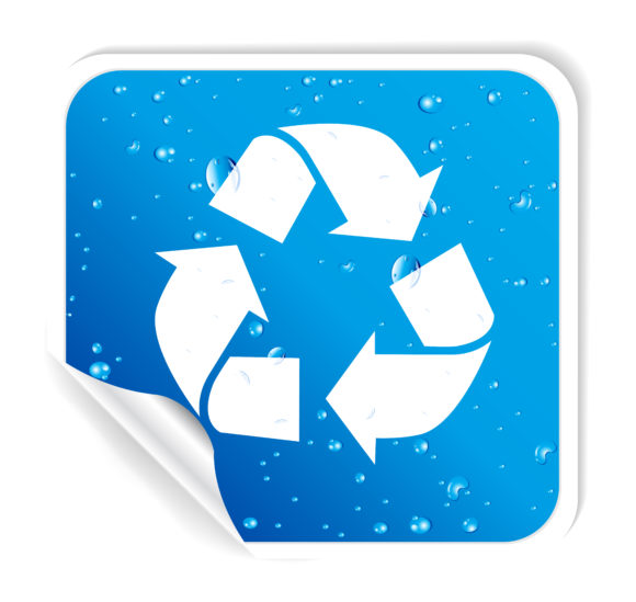 Vector Recycle Sticker With Bubbles Vector Illustrations vector