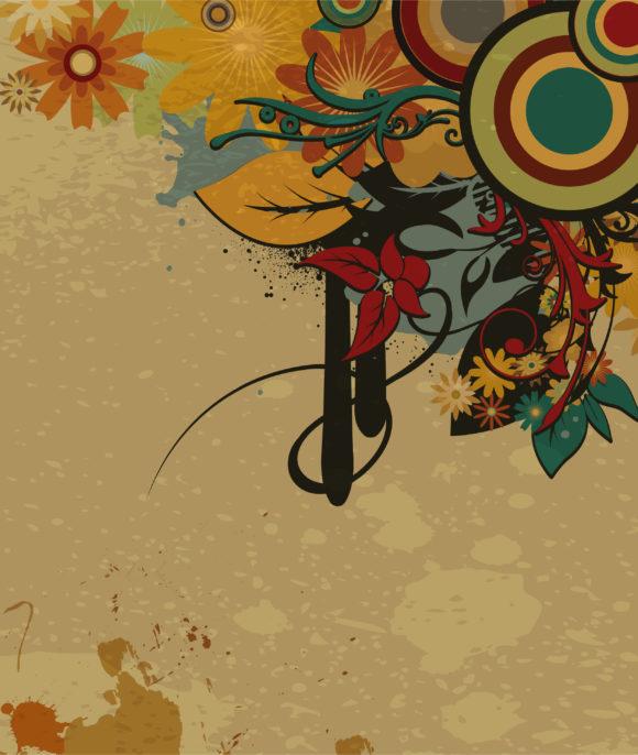 Buy Retro Vector Artwork: Vector Artwork Retro Grunge Background With Floral 2011 03 11 ea 4