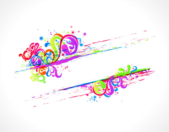 Stunning Swirls Vector: Vector Colorful Swirls Frame 5