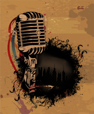 Vector Grunge Concert Poster With Microphone Vector Illustrations building