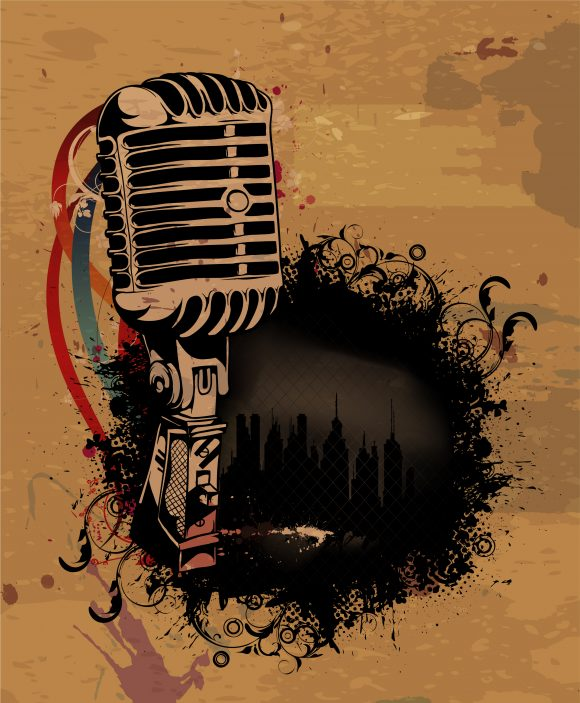 With, Concert, Microphone Vector Vector Grunge Concert Poster With Microphone 2011 03 14 ia 20