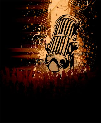 Vector Grunge Concert Poster With Microphone Vector Illustrations old
