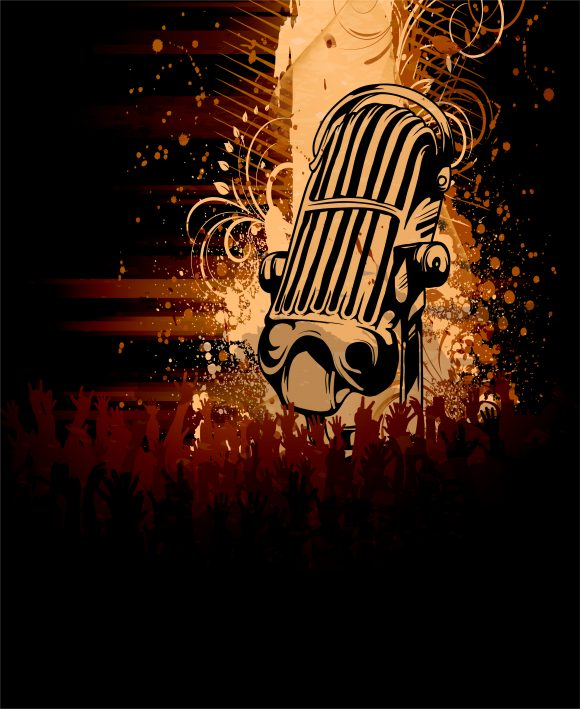 Grunge, Grunge Vector Vector Grunge Concert Poster With Microphone 1
