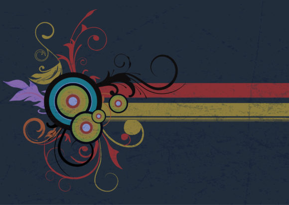 Bold Retro Vector Background: Vector Background Retro Grunge Floral Background With Circles 5