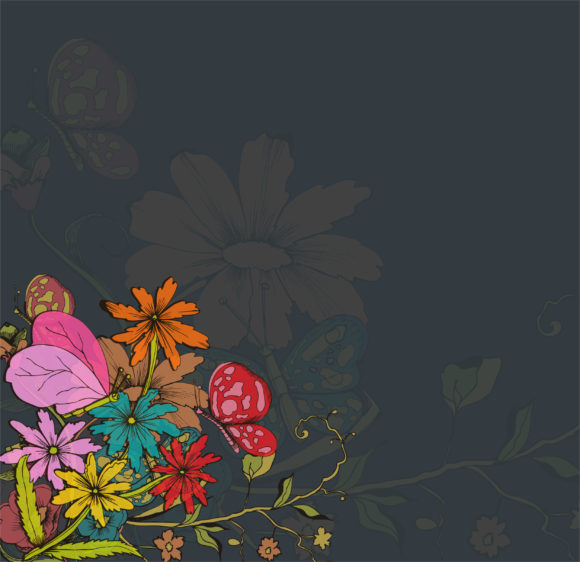 Best Background Vector Image: Vector Image Retro Floral Background 5