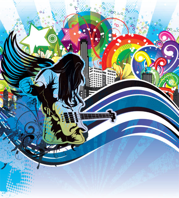 Awesome Guitar Vector Art: Vector Art Grunge Concert Poster With Guitar Player 2011 03 19 na 14