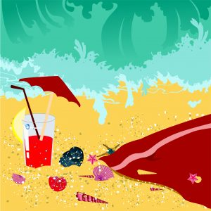 Vector Summer Background With Sea Creatures Vector Illustrations sea