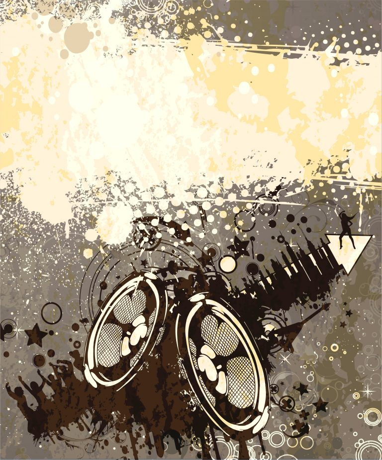 Vector Grunge Concert Poster With Speakers Vector Illustrations star