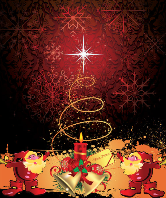 Astounding With Vector Graphic: Vector Graphic Christmas Background With Santa 1