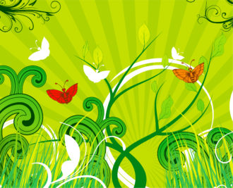 Vector Abstract Spring Background With Butterflies Vector Illustrations floral