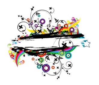 Vector Colorful Grunge Floral Frame Vector Illustrations star